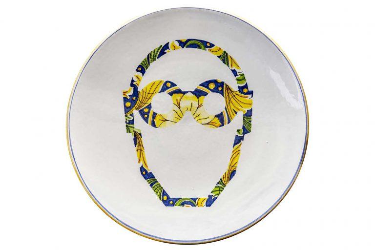 segnalEtica_ safety glasses _piatto 03 ceramic plate_ majolica_ caltagirone pantoù ceramics