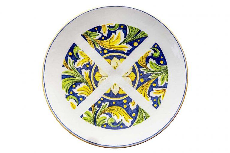 segnalEtica_Divieto Fermata_piatto ceramica maiolica decoro caltagirone pantoù ceramics